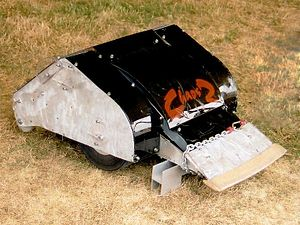 Robot combat - Chaos 2, a combatant robot from the Robot Wars TV series. Its weapon is a CO2-powered pneumatic flipper