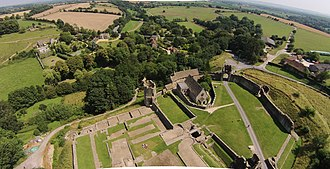 Farleigh Hungerford Castle - The south-east side of the castle, showing the Chapel of St Leonard (centre)