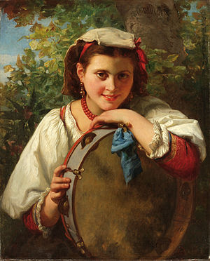 Charles Louis Müller - Young Lady with Tambourine (by 1892)