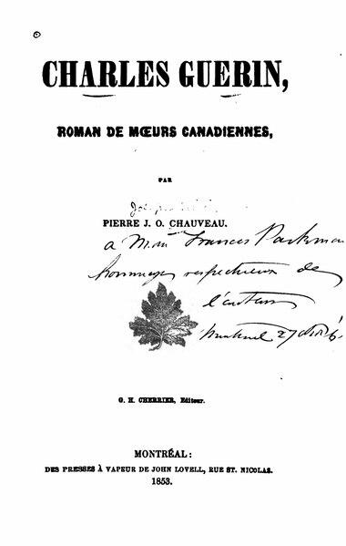 File:Chauveau - Charles Guérin, roman de mœurs canadiennes, 1853.djvu