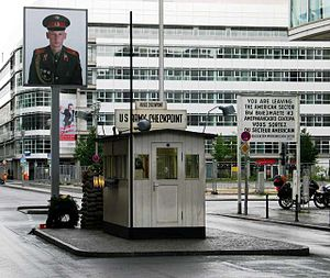 Berlin border crossings - Checkpoint Charlie, Friedrichstraße, Berlin: Replica of the old western border post.