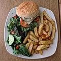 Cheeseburger, chips and salad at Sainsbury's, Chingford, London, England 2.jpg