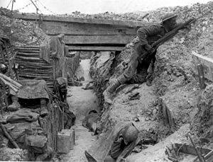 British Expeditionary Force (World War I) - A British trench near the Albert-Bapaume road at Ovillers-la-Boisselle, July 1916 during the Battle of the Somme. The men are from A Company, 11th Battalion, The Cheshire Regiment