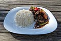 Chilli beef and rice at Highgate Cricket Club, Haringey, angle variant 1.jpg