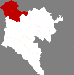Location of Arxan City jurisdiction in the Hinggan League