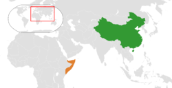 Map indicating locations of China and Somalia