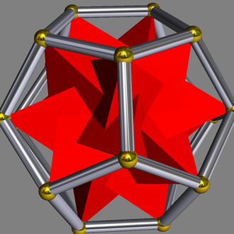 Compound of five tetrahedra - Five tetrahedra in a dodecahedron.