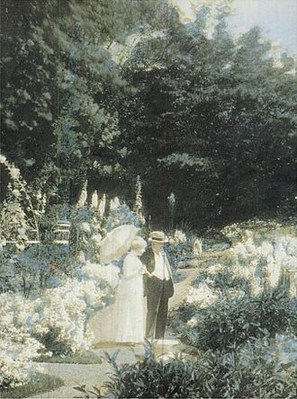 Naumkeag - An autochrome of the Choates in Naumkeag's garden, c. 1910.