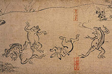 Four frogs and a rabbit in human form frolicking.