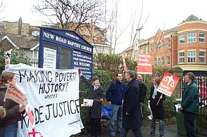 Trade justice - Activists from Christian Aid lobbying for Trade Justice.