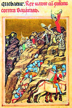 Basarab I of Wallachia - The battle of Posada (Viennese copy of Hungarian Illuminated Chronicle)