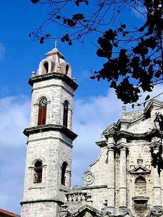 Havana Cathedral - Image: Church or Cathedral Steeple with Clock in Cuba