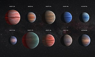 "Hot Jupiter - Comparison of ""hot Jupiter"" exoplanets (artist concept). From top left to lower right: WASP-12b, WASP-6b, WASP-31b, WASP-39b, HD 189733b, HAT-P-12b, WASP-17b, WASP-19b, HAT-P-1b and HD 209458b."