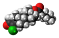 Clostebol caproate molecule spacefill.png