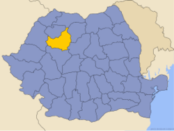 Administrative map of Romania with Cluj county highlighted