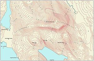 "Contour line - Contour map labeled aesthetically in an ""elevation up"" manner."