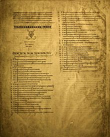 Description de l'image  Codex Alexandrinus list of kephalaia.JPG.