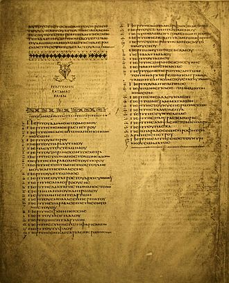 Codex Alexandrinus - List of κεφάλαια to the Gospel of Mark