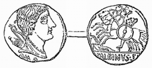 Aulus Postumius Albus Regillensis - Roman coin depicting the victory of Aulus Postumius.  On one side the head of Diana is represented with the letters ROMA underneath, and on the reverse are three horsemen trampling a foot-soldier. This coin was minted by Aulus Postumius Albinus 96 BC.
