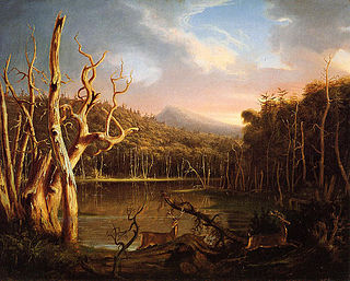 <i>Lake with Dead Trees</i> painting by Thomas Cole
