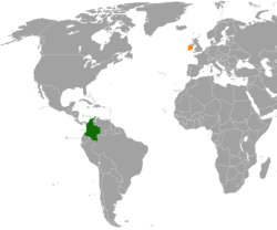 Map indicating locations of Colombia and Ireland