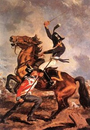Scots Guard Sergeant A. Fraser unhorsing Col. Cuieres at Hougoumont Farm, June 1815 Colonel Cubieres unhorsed.jpg