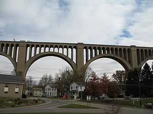 Pennsylvania Route 92 - PA 92 at interchange with US 11 in Nicholson, with Tunkhannock Viaduct in background