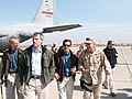 Congressional delegation leaves C-130 with General Petreaus at Baghdad airport.jpg