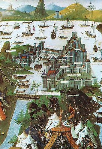 The siege of Constantinople in 1453 (contemporary miniature) Constantinople 1453.jpg