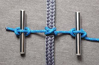 Marlinespike hitch - A constrictor knot prepared for tightening using two rods and marlinespike hitches