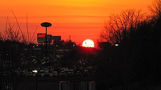 Putnam County, Tennessee - Sunset over Interstate Drive in Cookeville
