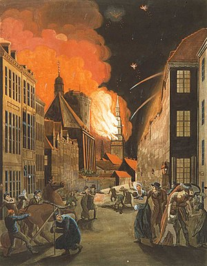 Church of Our Lady (Copenhagen) - The spire of the Church of Our Lady on fire in 1807 as painted by Christoffer Wilhelm Eckersberg. (Rundetårn and the Trinitatis complex is seen to the left of the Church of Our Lady.)