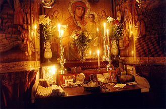 Hymns to Mary - Coptic Marian altar at the Church of the Holy Sepulchre, Jerusalem