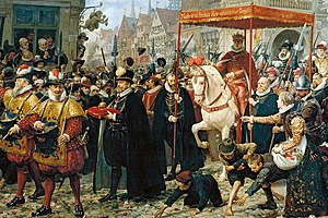Christian IV of Denmark - The coronation of King Christian IV on 29 August 1596 History painting by Otto Bache, 1887.