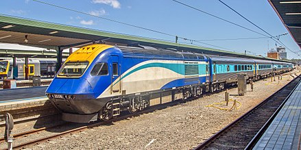 An XPT at Central station in Sydney. Central is the hub of the New South Wales railway network. Countrylink XPT at Sydney Central station.jpg