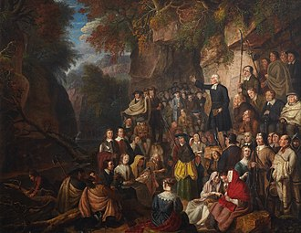 Covenanter - An illegal conventicle. Covenanters in a Glen, painting by Alexander Carse.