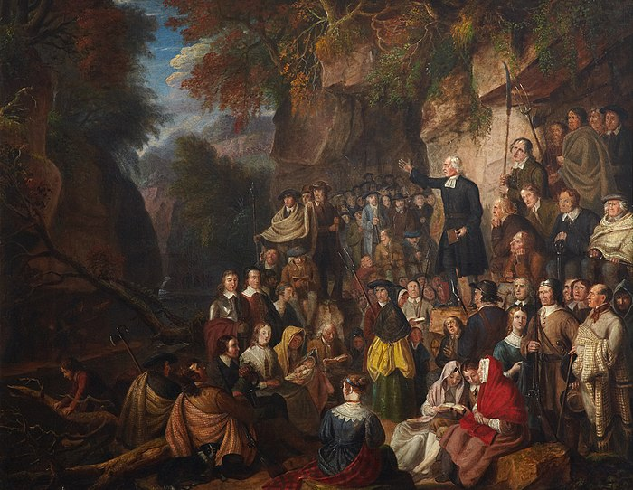 A painting of an illegal conventicle: Covenanters in a Glen, by Alexander Carse Covenanters in a Glen.jpg