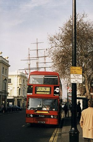 London Buses route 188 - Cowie South London Leyland Titan in Greenwich in February 1998