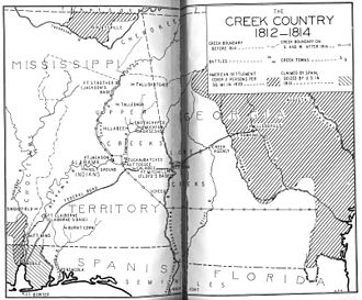 Battle of Calebee Creek - Fort Mitchell (Floyd's Base) shown along the Federal Road near Autossee and Calabee