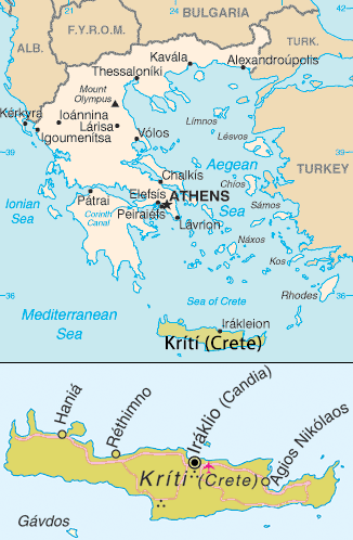 Crete location map