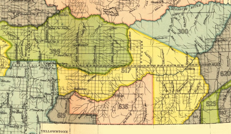 Crow Indian Reservation, 1868 (area 619 and 635). Yellow area 517 is 1851 Crow treaty land ceded to the U.S