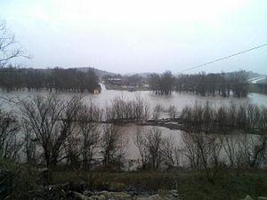 Early Spring 2008 Midwest floods - Current River overflowing its banks in Van Buren, Missouri.