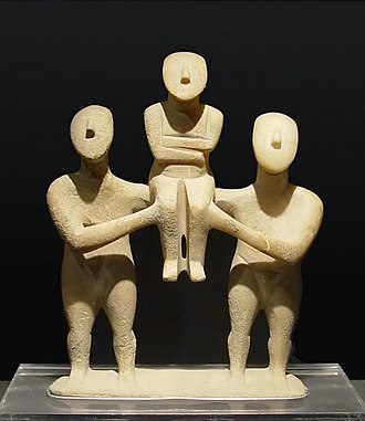 Aegean art - Group of three Cycladic figurines, early Spedos type, Keros-Syros culture (EC II)