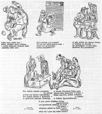 "Soviet annexation of Eastern Galicia, Volhynia and Northern Bukovina - Pro-Soviet caricatures published in Polish language in Lviv in September 1940, ridiculing ""enemies of the state"" – Polish businessmen, army officers and aristocracy."