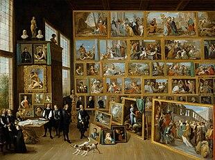 Erzherzog Leopold Wilhelm in seiner Galerie in Brüssel, um 1650, Kunsthistorisches Museum, Wien – Unter der Entourage des Erzherzogs ist auch sein Hofmaler David Teniers selbst abgebildet, die erläuternd gestikulierende Person ganz rechts. (Quelle: Wikimedia)