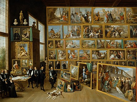 David Teniers the Younger, The Archduke Leopold Wilhelm in his gallery in Brussels. Teniers documented the archduke's collection of paintings in this work while he was court painter in Brussels. DAVID TENIERS EL JOVEN - El Archiduque Leopoldo Guillermo en su Galeria de Bruselas (Kunsthistorisches Museum de Viena, 1650-52. Oleo sobre lienzo, 123 x 163 cm).jpg