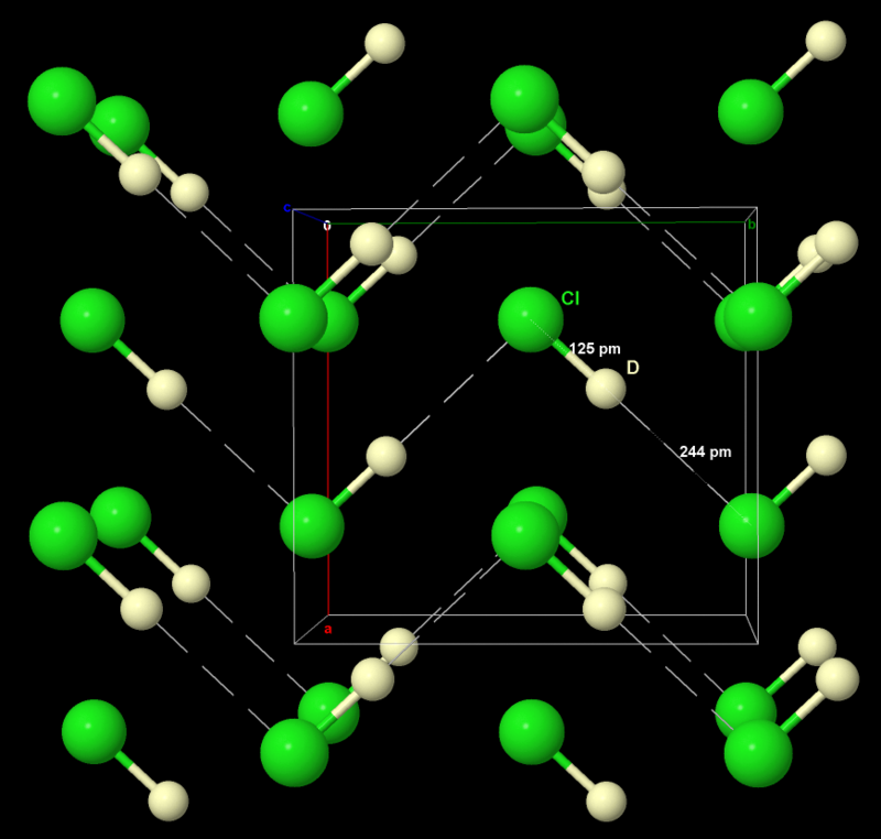 Structure of solid deuterium chloride, with D***Cl hydrogen bonds DCl Neutron powder.png