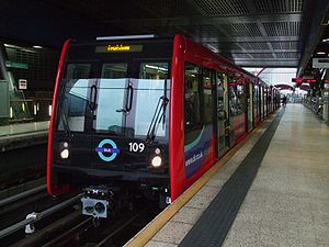 Transport in London - An automated Docklands Light Railway train at Heron Quays, in the Canary Wharf financial district.