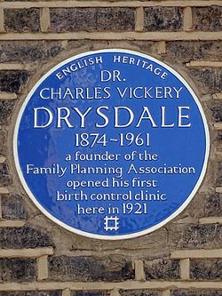 Dr. charles vickery drysdale 1874 1961 a founder of the family planning association opened his first birth control clinic here in 1921