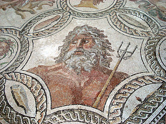 Neptune (mythology) - Mosaic of Neptune (Regional Archeological Museum Antonio Salinas, Palermo)